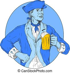 American Patriot Holding Beer Mug Oval Drawing - Drawing...