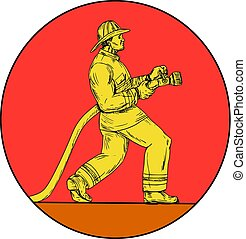 Fireman Firefighter Holding Fire Hose Circle Drawing -...