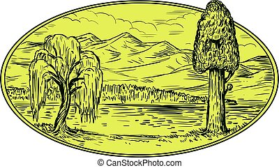 Willow And Sequoia Tree Lake Mountains Oval Drawing -...