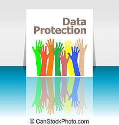 Text Data Protection. Security concept . Human hands silhouettes