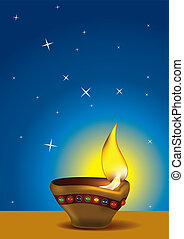 Diwali Diya with blue sky - Diwali Diya - Oil lamp for...