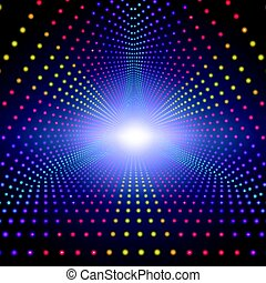 Vector infinite triangular tunnel of shining flares on dark...
