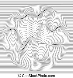 Vector striped background. Abstract line waves. Sound wave...