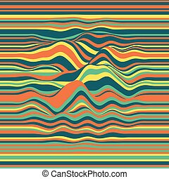 Vector striped background. Abstract color waves. Sound wave...