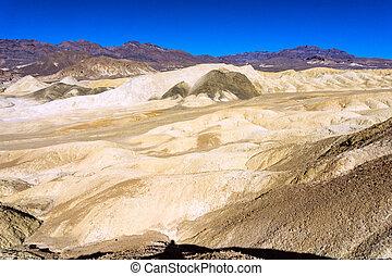 mort, vallée, coloré, paysage