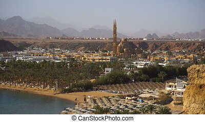 View of beach and sea in Egypt. Top aerial view.