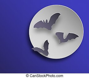 Flock of bats in paper art style on night moon background. Flying bats silhouettes with shadows.
