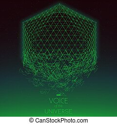 Crashing space green object. Abstract vector background with tiny stars. Glow of sun from the bottom. Abstract space geometry. Alien stars sparkles on the backdrop. Disintegration of cyber object.