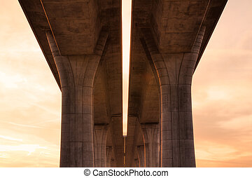 Highway Bridge - The detail of highway bridge at sunrise