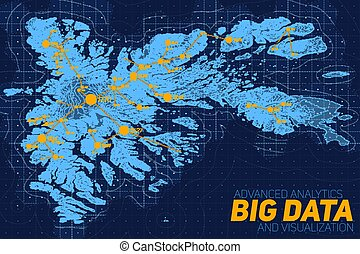 Terrain big data visualization. Futuristic map infographic....