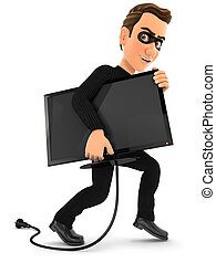 3d thief stealing a television, illustration with isolated...