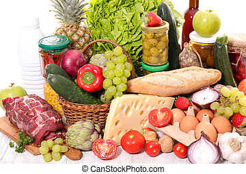 variety of organic food products