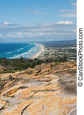 Pristine beach on Moreton Island. - View of the pristine...