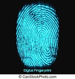 Vector abstract binary representation of fingerprint. Cyber...