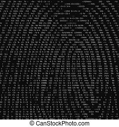 Vector abstract binary representation of fingerprint. Cyber thumbprint grayscale pattern composed of numbers. Biometric identity verification. Futuristic sensor scan image. Digital dactylogram.