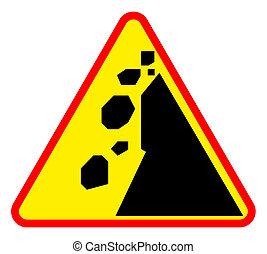 Landslide road warning sign - Falling rocks or landslide...