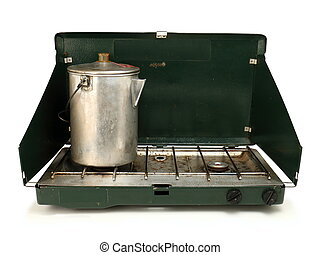Worn Camping Stove and Coffee Pot - A well used camping...