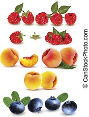 Collection of fruit and berries. Raspberry, peach,...