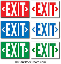 "Image of various colorful ""EXIT"" signs."