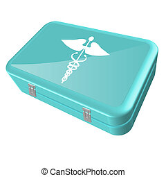 Image of a medical kit isolated on a white background.