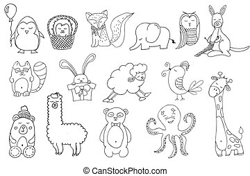 Hand drawn animals in cartoon style. - Hand drawn Set of...