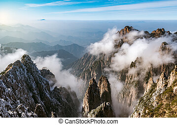 Sunrise above the peaks of Huangshan National park. China