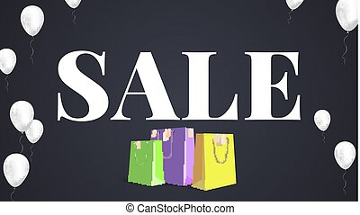 Black sale background. White text Sale with inflatable white helium balloons and colored paper shopping bag with labels new purchased items. Banner in HD format for your business ad about discount