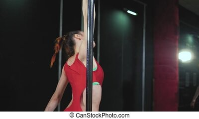 Young slim sexy pole dance woman fhd - Young slim sexy pole...