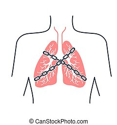 Icon asthma chain-bound - Icon of a patient with bronchial...