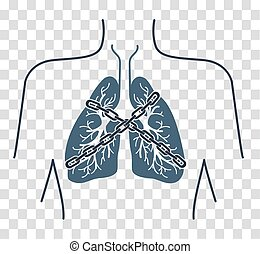 Icon chain-bound asthma - Icon of a patient with bronchial...