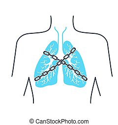 Icon asthma chain - Icon of a patient with bronchial asthma...