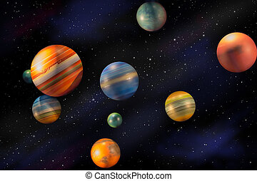 Planets in space universe