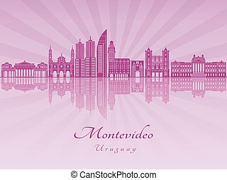 Montevideo in purple radiant orchid - Montevideo skyline in...