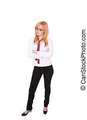 Fullbody business woman isolated over a white background