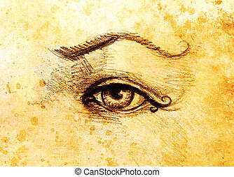 sketch of woman eye with eyebrow, drawing on abstract...
