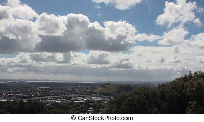 City view from the mountain in New Zealand. Scenic peaks and...