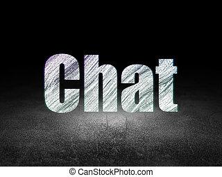 Web design concept: Chat in grunge dark room