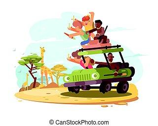 Group of tourists on safari