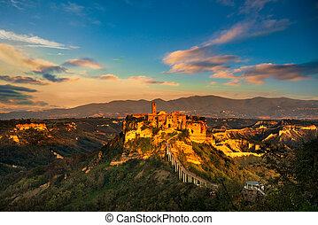 Civita di Bagnoregio landmark, aerial panoramic view on...