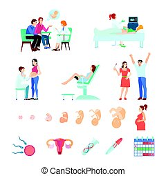 Midwifery Obstetrics Gestation Icon Set - Colored isometric...