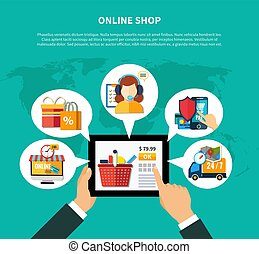 Online Shop Composition - Online shop composition with man s...