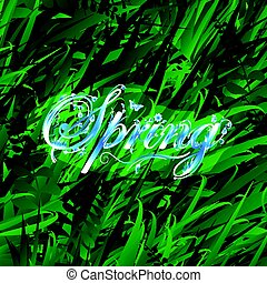 Floral word spring over grass background