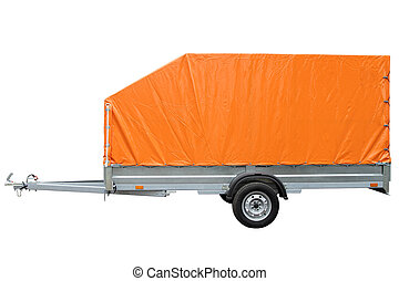 Car trailer with canvas awning isolated on white background....