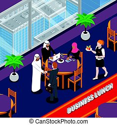 Arab Persons Business Lunch Isometric Illustration - Arab...