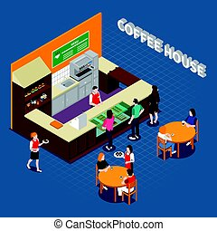 Coffee House Isometric Composition - Coffee house isometric...