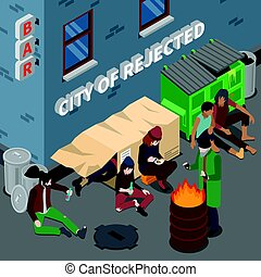 Lifestyle Of Homeless People Isometric Composition -...