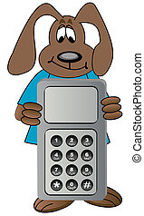 dog holding on to cell phone - dog cartoon holding on to...