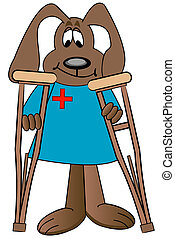 dog cartoon health care professional holding pair of...