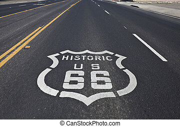 Historic Route 66 - Route 66 pavement sign on a four section...