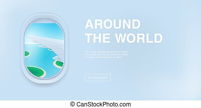 Banner with airplane window. cartoon flat illustration with...